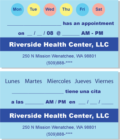 multi-lingual appointment card